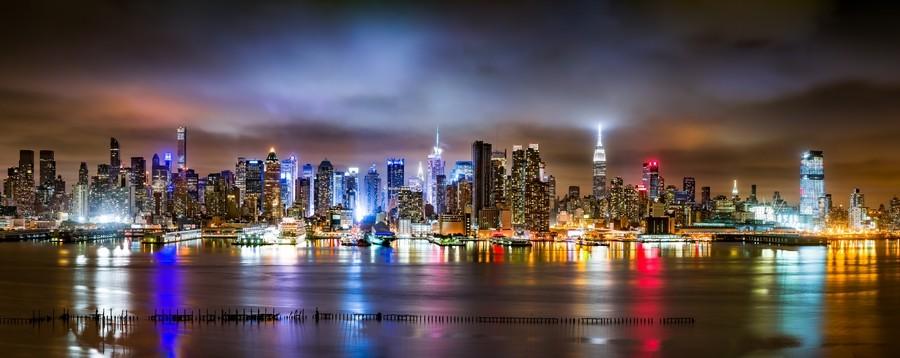 Как фотографировать ночью яркие отражения, пример.