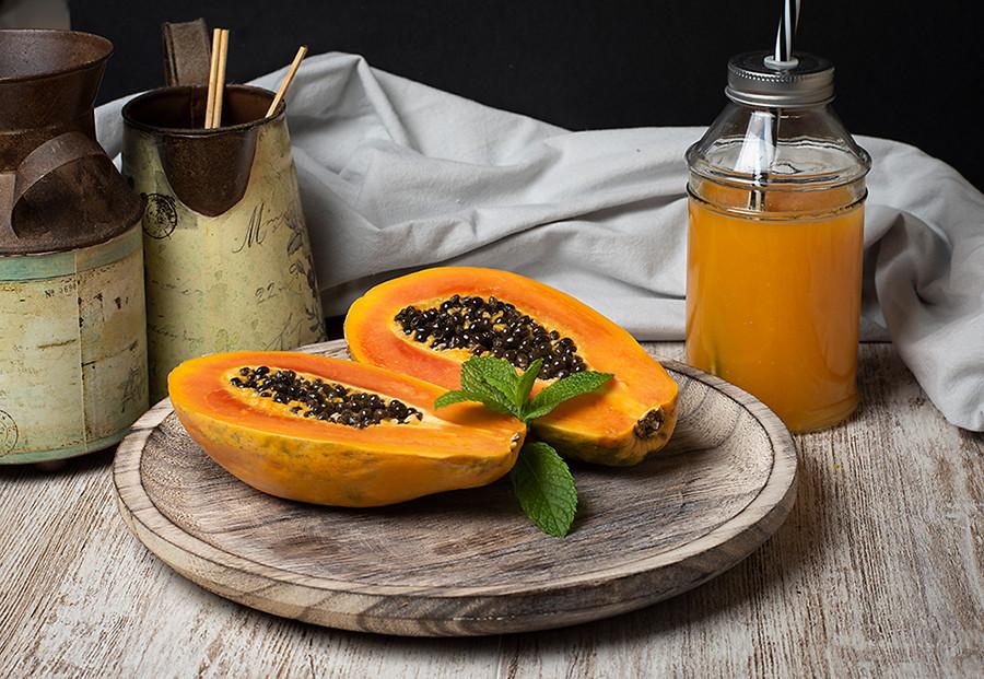 Пример фото еды, папайя, сок