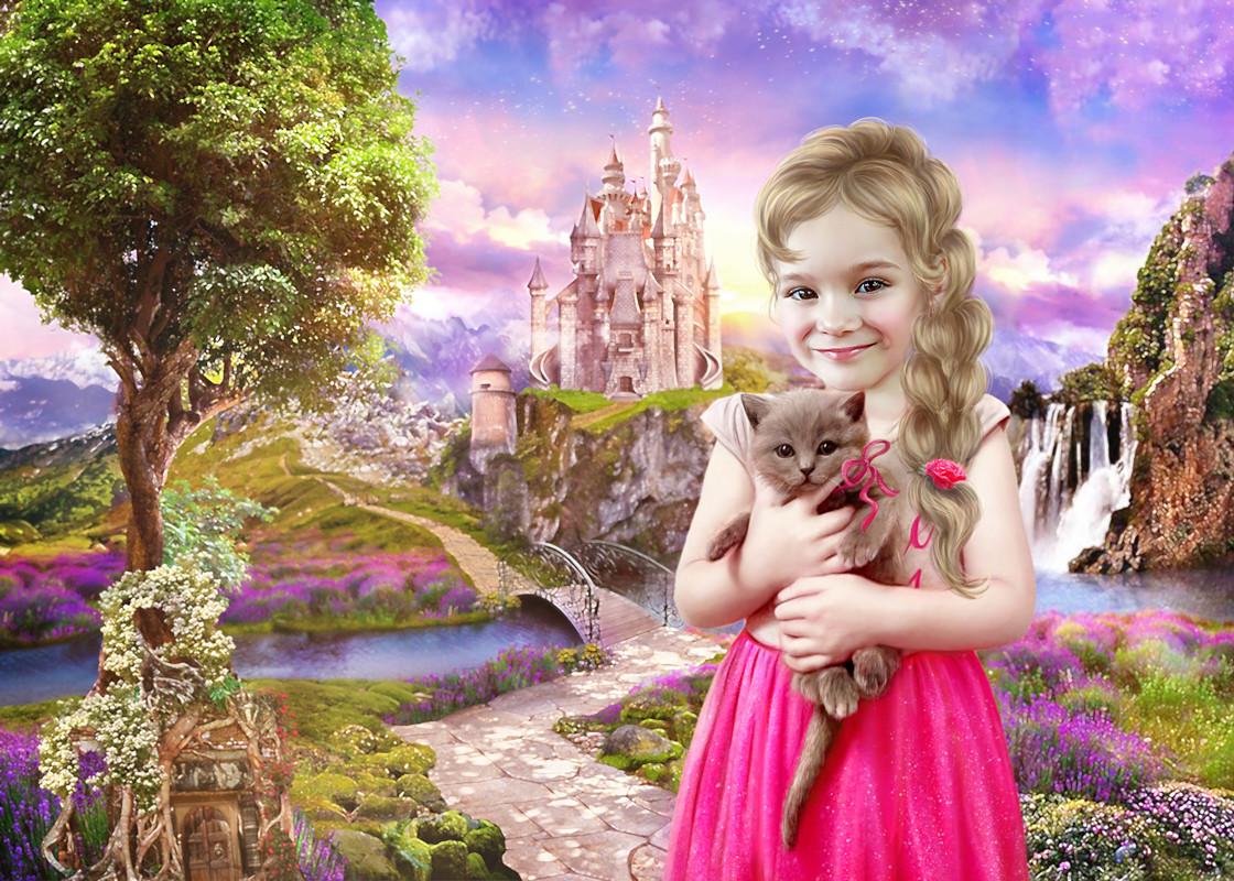 Принцесса с котенком - фотомонтаж, арт на заказ