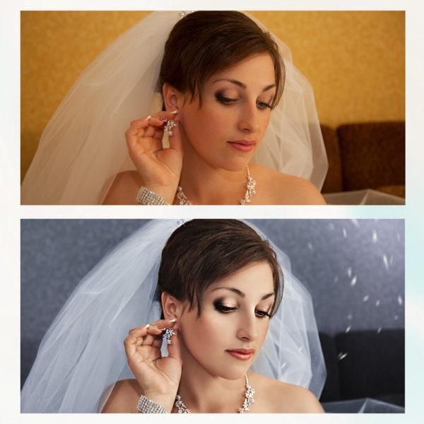 Художественная ретушь свадьбы до и после