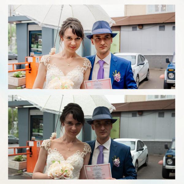 Заказать цветокоррекцию свадьбы с примерами до и после, цена