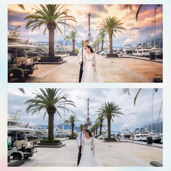 Заказать арт, художественную обработку свадебного фото с примерами до и после, цена