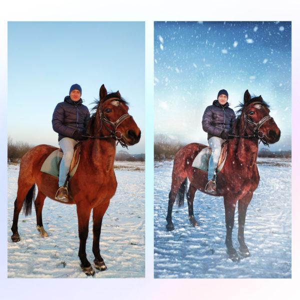 Заказать зимнюю новогоднюю художественную обработку, пример до и после