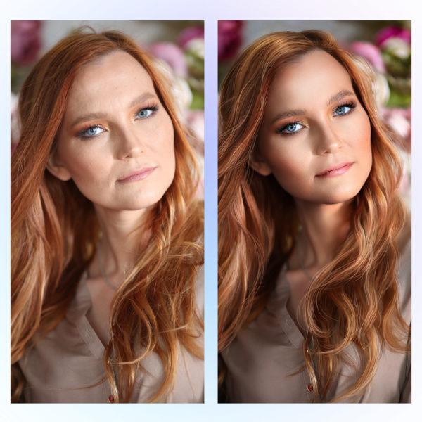 Портретная бьюти ретушь кожи, лица, волос, фона пример до и после