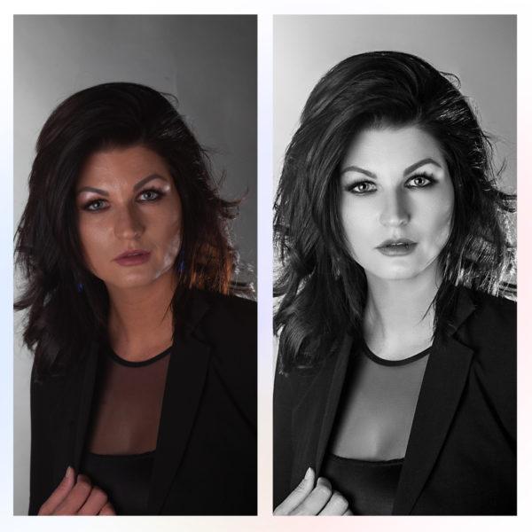 Черно-белая обработка фото с ретушью девушки до и после