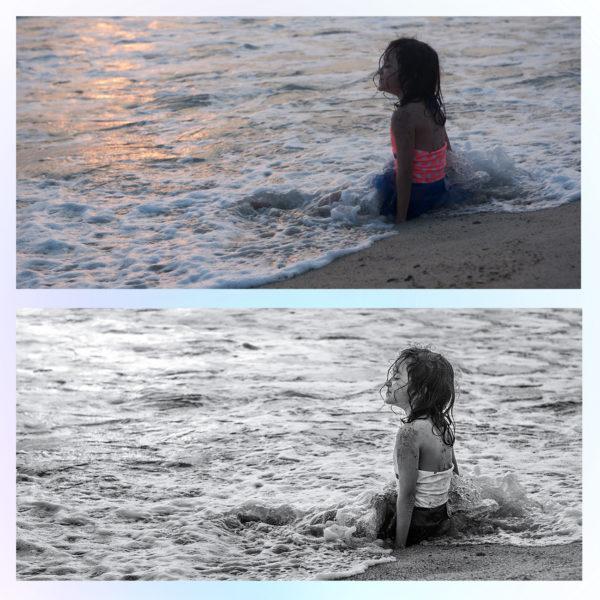 Черно-белая обработка фото с ретушью девочки до и после