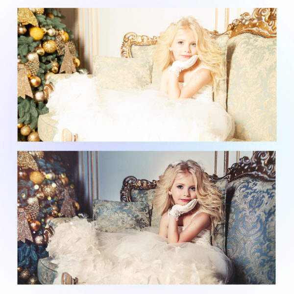 Заказать детскую новогоднюю художественную обработку, пример до и после