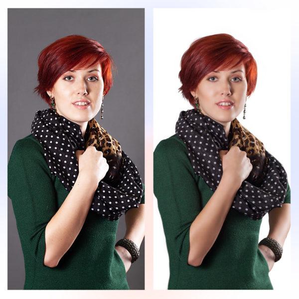Обтравка, удаление фона и волос до и после