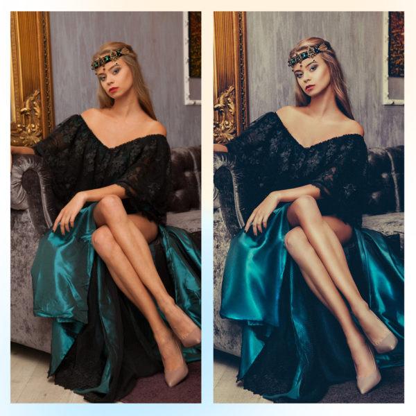 Ретушь юбки онлайн до и после