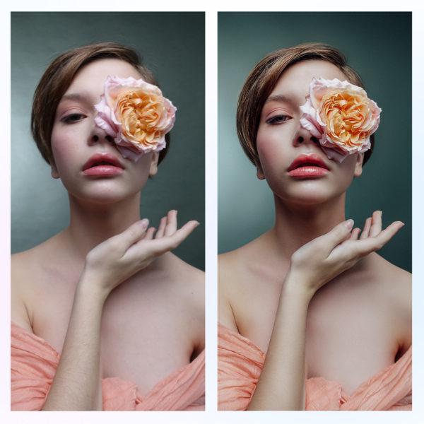 Портретная ретушь кожи, лица, волос, фона пример до и после