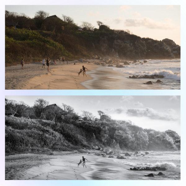 Черно-белая обработка фото с ретушью до и после