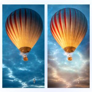 Обработка фото пейзажа воздушного шара до и после