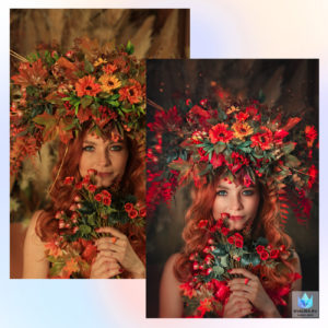 Осенняя обработка и художественная ретушь фото до и после пример